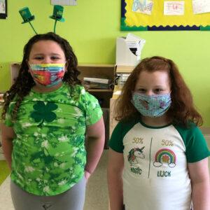 Two children dressed up for Saint Patricks Day