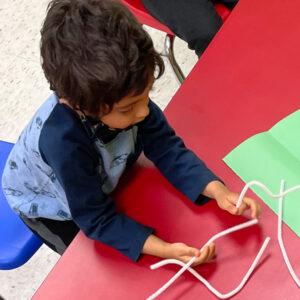 Boy doing an art project