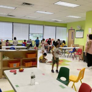 School Age classroom with kids doing various activities